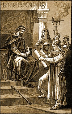 King Josiah is shown the Holy Scriptures