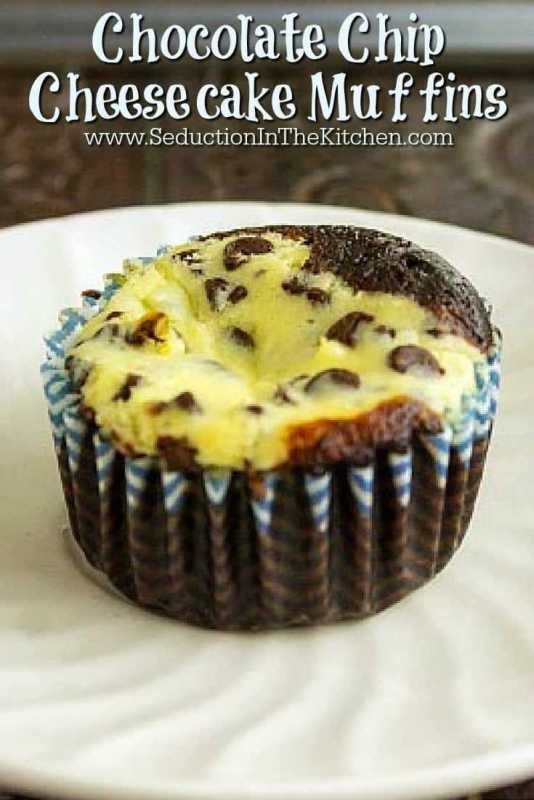Chocolate Chip Cheesecake Muffins From Seduction In The Kitchen