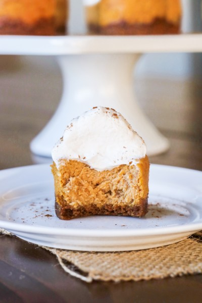 Mini Pumpkin Cheesecakes with Gingersnap Crust {Gluten Free Option}