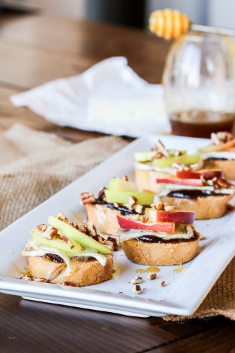 Apple, Brie & Honey Crostini