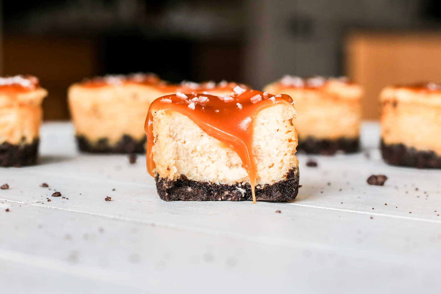 Mini Salted Caramel Cheesecakes {Gluten Free Option}
