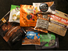 A collection of snack bites from a variety of different brands