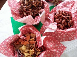 chocolate popcorn, seasoned almonds, honey snack mix