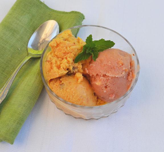 Apricot syrup frozen yogurt