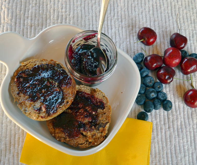 muffins spread with beautiful cherry berry fruit butter