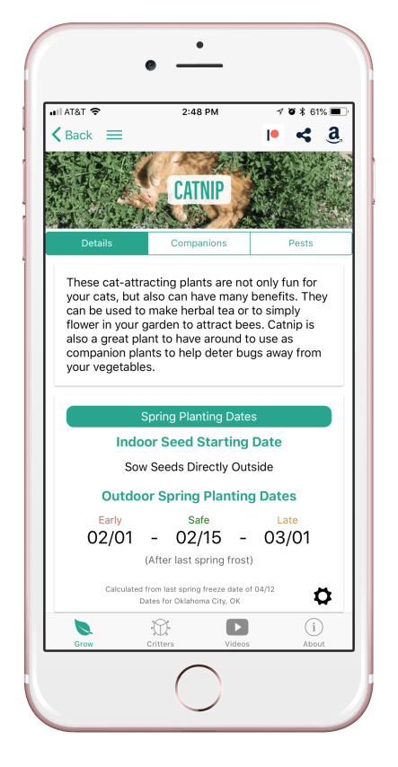 Grow Catnip with the From Seed to Spoon Garden Planner App
