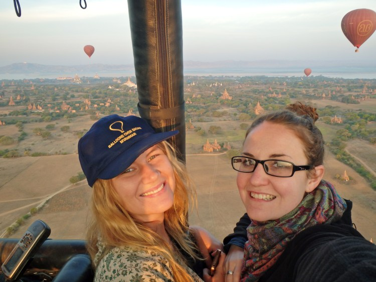 Flying high in a balloon, Bagan, Burma