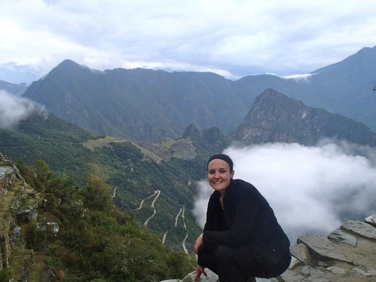 viewing Machu Piccu from the Sungate, the Inca Trail, Cusco, Peru