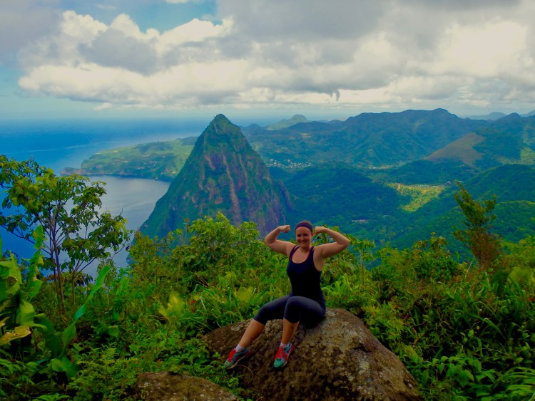climbing the gros piton in st. lucia caribbean
