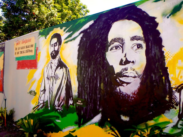 artwork at the bob marley museum tuff gong records reggae music of jamaica