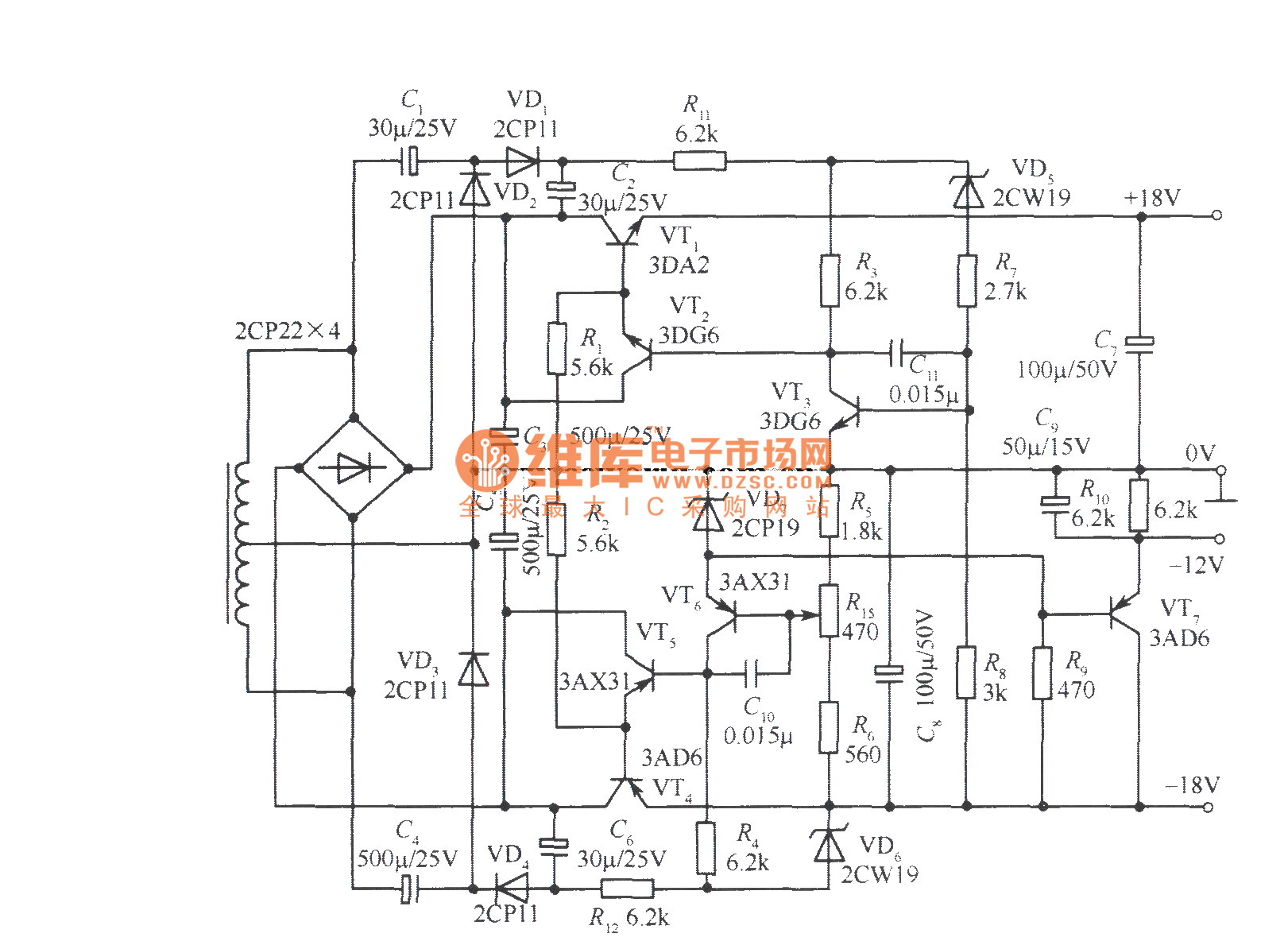 18v Bipolar Regulated Voltage Power Supply Circuit
