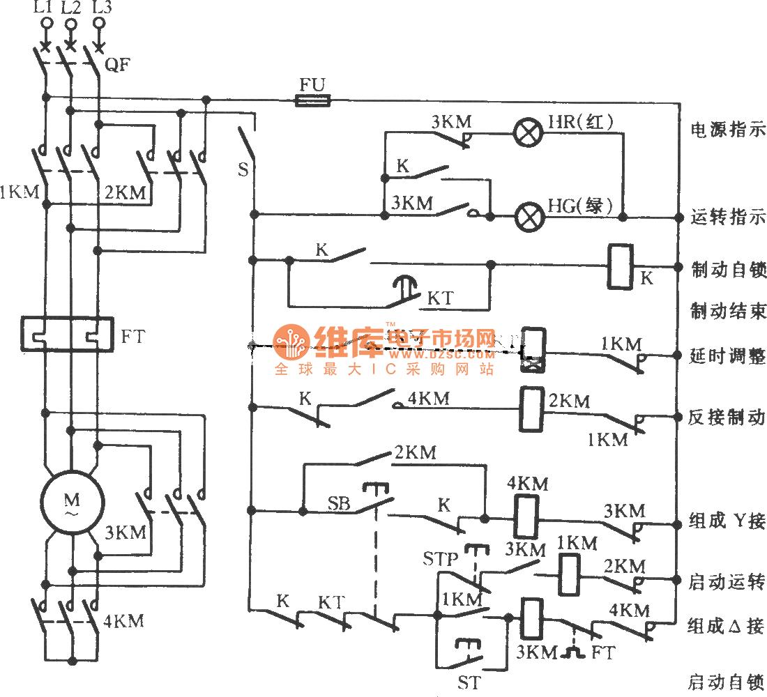 Y Shaped Three Phase Motor Reverse Brake Circuit