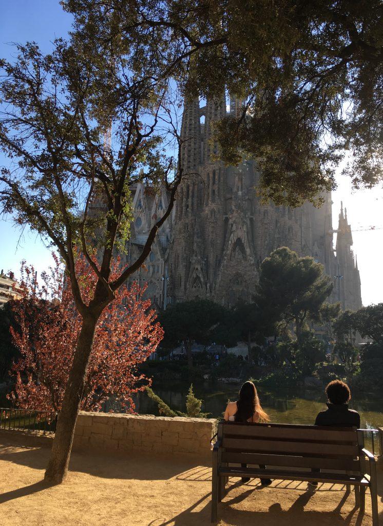 Sunshine views of Sagrada Familia, Barcelona, Spain