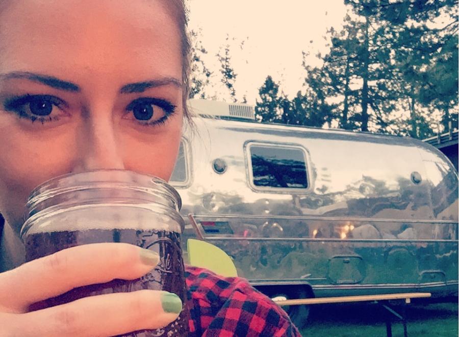 girl camping in Lake Tahoe