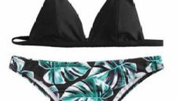 c62f176de961a SweatyRocks Women s Sexy Bikini Swimsuit V Neck Leaves Print Double Straps  Swimwear Set