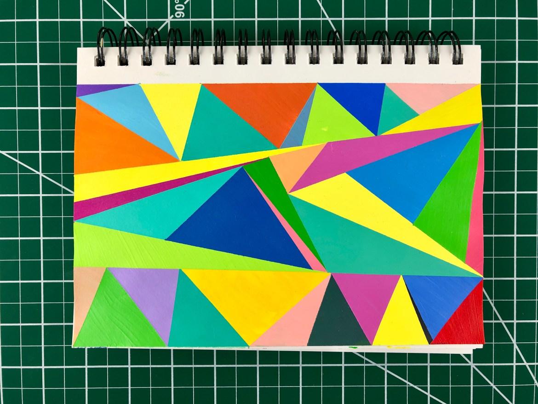 Hard Edge Geometric Abstract Triangle Painting
