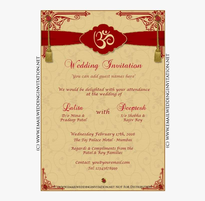 indian wedding invitation card template