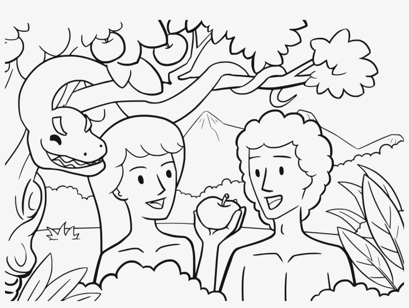 Pain In My Side Adam Eve And Serpents First Sin Coloring Pages Png Image Transparent Png Free Download On Seekpng