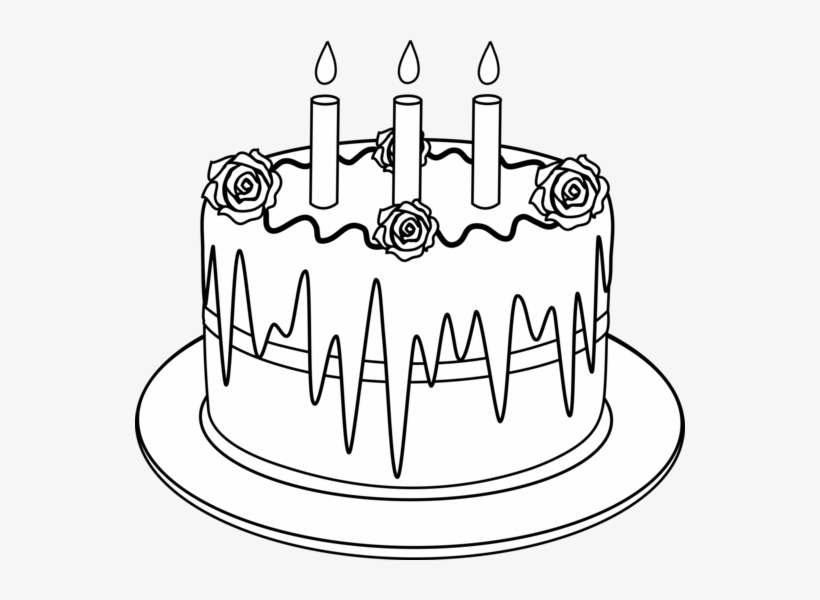 Birthday Cake Clipart Black And White Outline Picture Of Cake Png Image Transparent Png Free Download On Seekpng