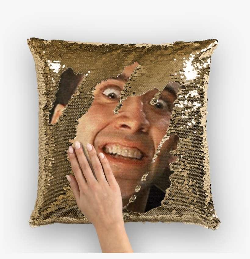 creepin nicolas cage sequin pillow