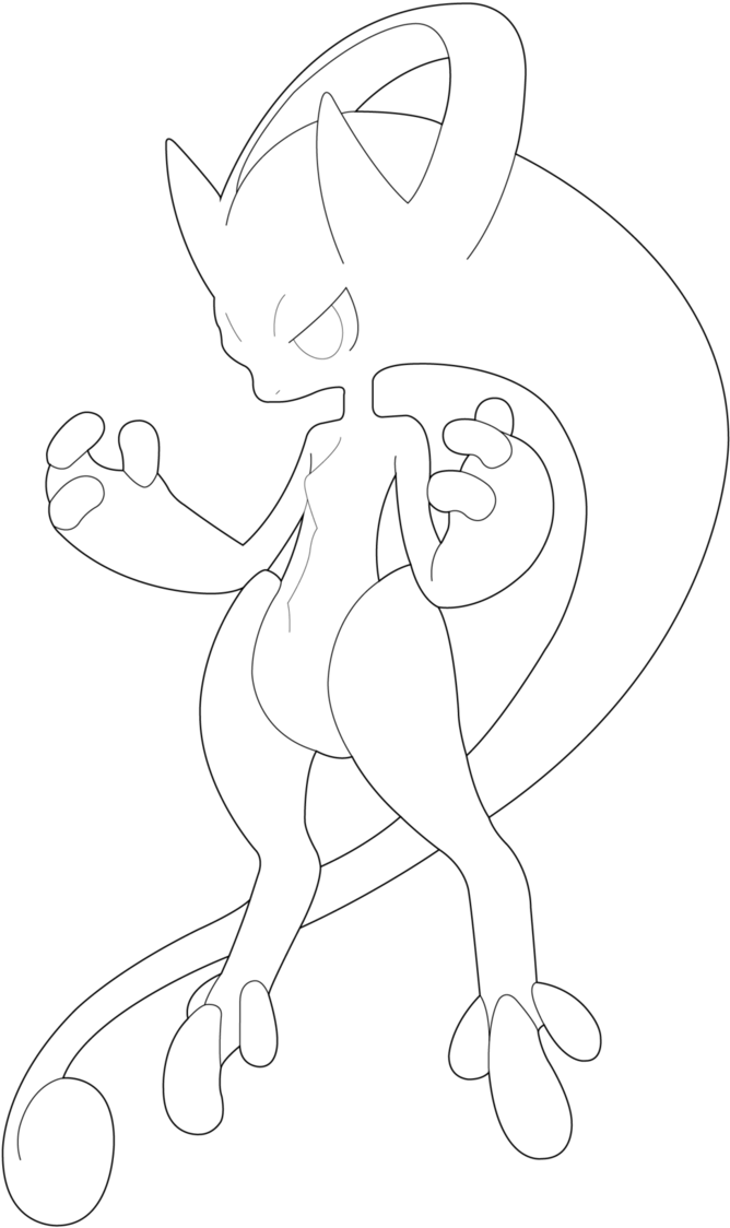 Mega Mewtwo Coloring Pages Coloriage Pokemon Mega Mewtwo Y Full Size Png Download Seekpng
