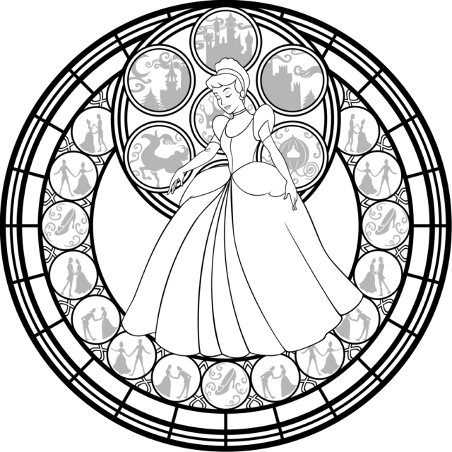Stained Glass Window Coloring Pages - Mandala Princess Coloring