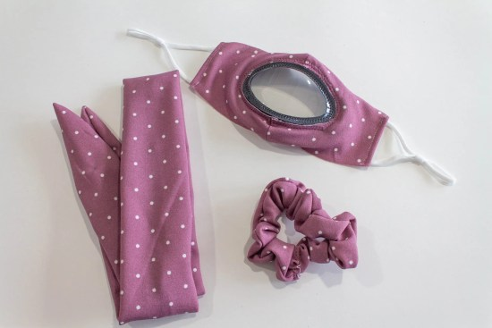 See Me Clear cloth mask accessories mauve with white dots
