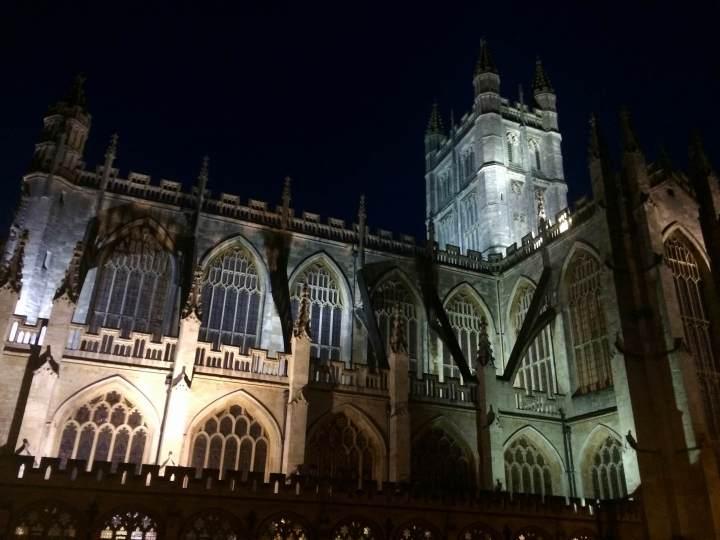The Bath Abbey at night.