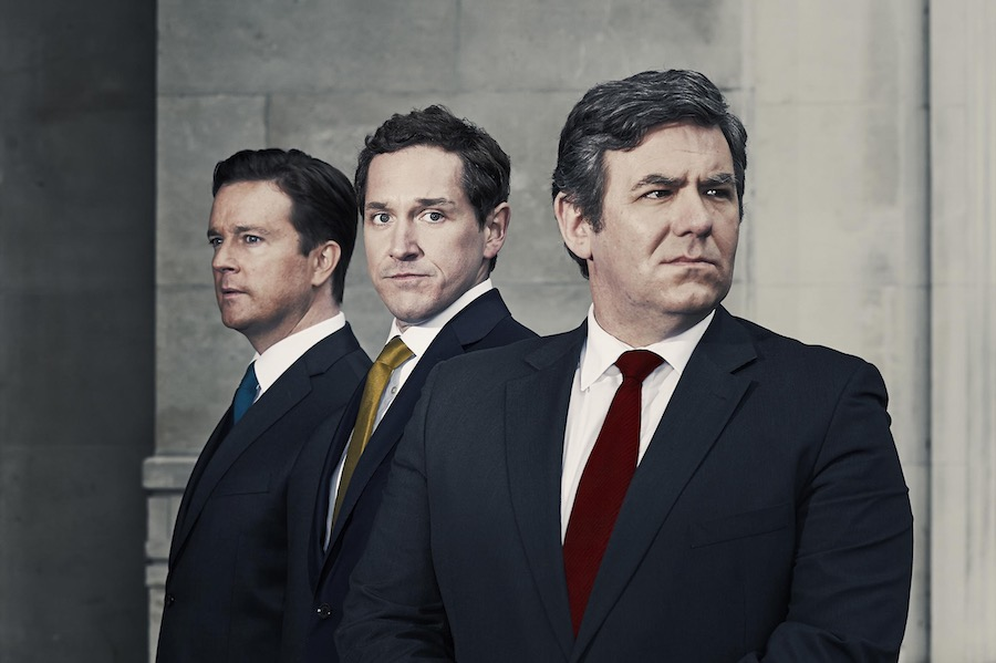 L-R David Cameron (Mark Dexter), Nick Clegg (Bertie Carvel) and Gordon Brown (Ian Grieve). Image: Channel 4