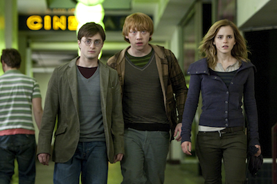 """(L-r) DANIEL RADCLIFFE as Harry Potter, RUPERT GRINT as Ron Weasley and EMMA WATSON as Hermione Granger in Warner Bros. Pictures' fantasy adventure """"Harry Potter and the Deathly Hallows – Part 1."""