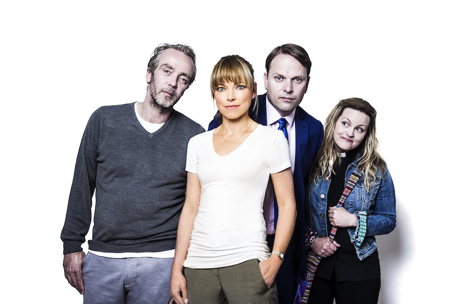 Picture Shows: John Hannah as Adam, Sarah Alexander as Marley, Nicholas Burns as Michael, Jo Joyner as the vicar