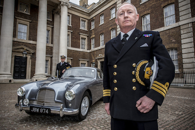 Commander Paul Haines with colleague Commander Pat Douglas at the unveiling of the 'real Bond car'