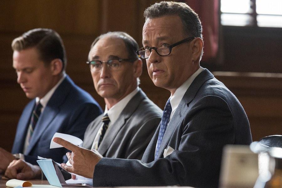 Tom Hanks as James Donovan, Mark Rylance as Rudolf Abel and Billy Magnusson as Douglas Forrester.