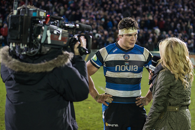 Sarra Elgan conducts post-match interview at Bath v Exeter. Image: BT