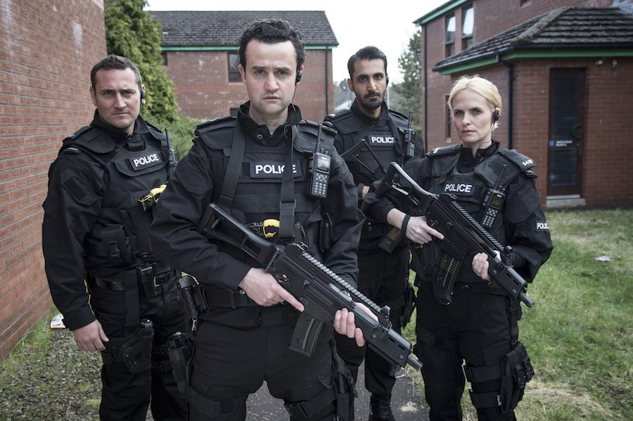 PC Rod Kennedy (WILL MELLOR), Sgt Danny Waldron (DANIEL MAYS), PC Ash Patel (ARSHER ALI), PC Jackie Brickford (LEANNE BEST). Image: BBC/World Productions/Steffan Hill