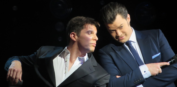Nigel Harman as Simon and Simon Bailey as Liam in Harry Hill's I Can't Sing. Image: SEENIT