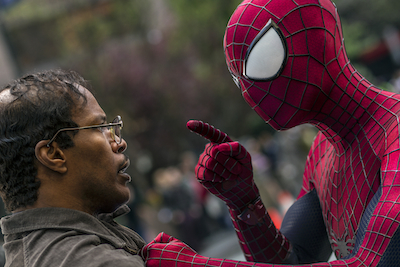 "Jamie Foxx and Andrew Garfield as Spider-Man star in Columbia Pictures' ""The Amazing Spider-Man,"" also Emma Stone."