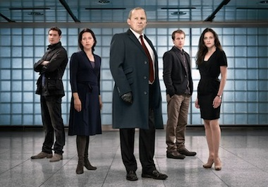 Pictures shows: (L-R) MAX BROWN as Dimitri Levendis, NICOLA WALKER as Ruth Evershed, PETER FIRTH as Harry Pearce, GEOFFREY STREATFEILD as Calum and LARA PULVER as Erin Watts. Image: BBC/Kudos