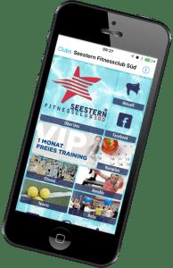 Smartphonedisplay mit Seestern Fitnessclub Süd App von MyFit App