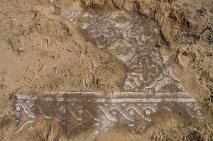 Section of mosaic floor uncovered at Kathisma (© 2011 Shmuel Browns)