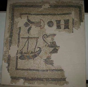 Mosaic including boat discovered at Magdala (© Magdala Project)