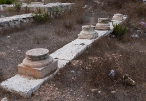 Row of column bases from Kathisma church (Seetheholyland.net)