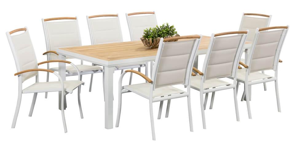8 timor white 2 1m teak box leg table