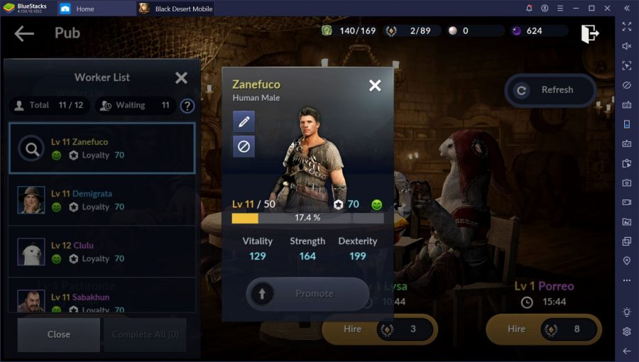 kinerja worker black desert mobile