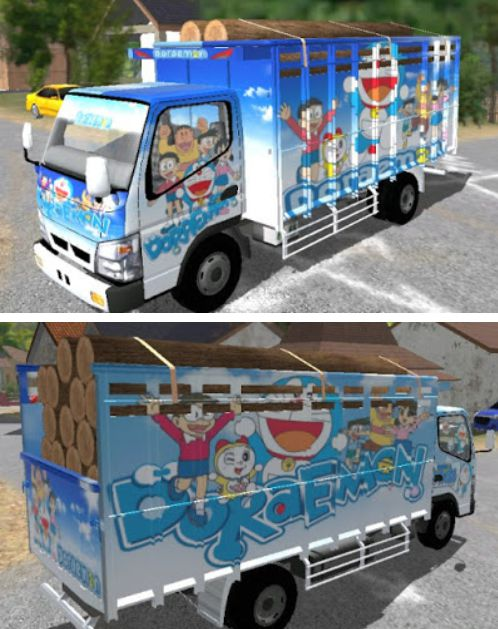 Livery Doraemon biru ESTS id