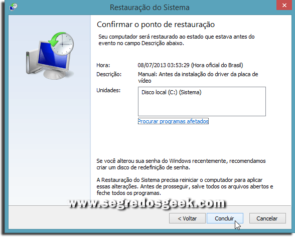 Restauração do Sistema no windows 8.1
