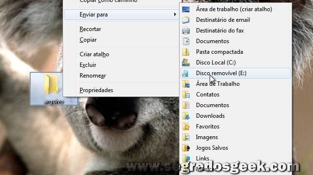 Windows 7: Use os itens secretos do menu Enviar Para