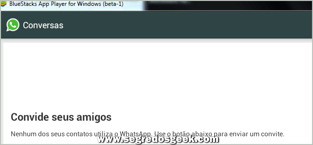 Tela do WhatsApp pronto no Windows via BlueStacks.