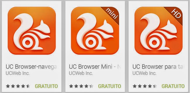 Versões do navegador UC Browser para Android. Na Google Play.