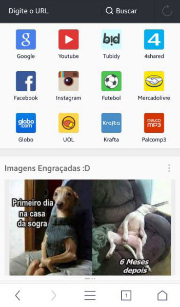Menu do navegador UC Browser.